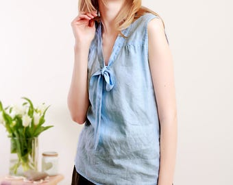 READY TO SHIP/ Linen Top/ Linen Shirt Sleeveless/ Linen Summer Blouse With Bow/ Eco Friendly Women Clothing/ Natural Linen Clothing