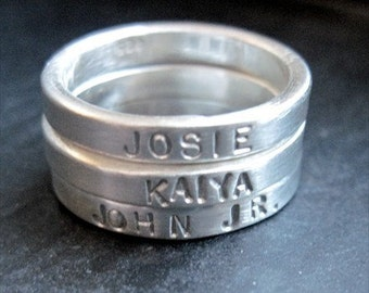 One (1) Sterling Silver Stackable Ring - Hand Stamped Ring- Size 6 - Personalized Ring-Silver Ring-Custom Ring- Stackable Ring-Sterling Ring