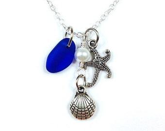 Sea Glass Necklace, Beach Glass, Pearl, Shell, Starfish Charm