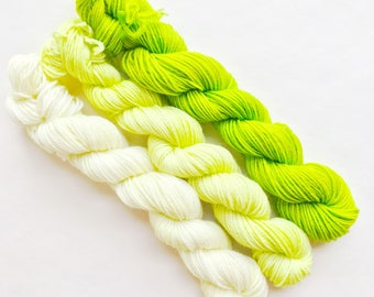 LIME fade set of hand dyed yarn mini skeins. Gradient ombre SET of 3 skeins. Sock fingering yarn merino wool. Deep to light lime green yarn