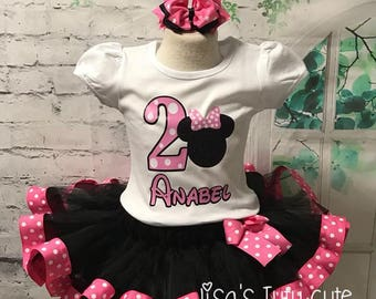Minnie Mouse Birthday Outfit, Minnie Mouse tutu, Minnie Mouse Birthday, pink and black tutu, Minnie Mouse outfit