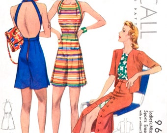 1930s pattern // beachwear playsuit // jacket skirt // vintage sewing pattern reproduction // Bust 32 34 36 38 40 // French & English