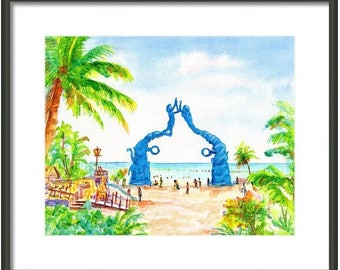 Playa del Carmen, Portal Maya Statue, ORIGINAL Watercolor Painting, 8x10, Mexico, Mayan gateway, Cancun, 5th Avenue, Ferry, Fundadores Park