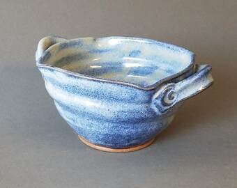 Squared Double Handled Bowl for Brie Baker Hot Cold Dips Spreads In Cobalt Blue Denim