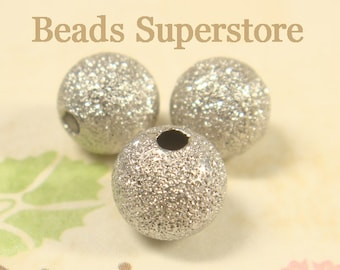 10 mm Platinum-Plated Brass Stardust Round Bead - Nickel Free and Lead Free - 12 pcs