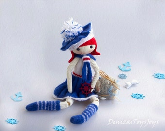 Marine Doll. - pdf knitting pattern. Knitted round. Bead jointed doll.