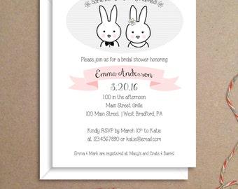 Bridal Shower Invitations - Bunny Invitations - Wedding Shower Invitations - Illustrated Party Invitations - Custom Invitations