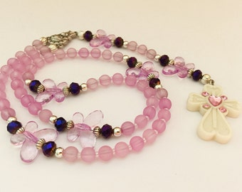 Pink Rosary. Baby Rosary. Girl's Rosary. Christening Gift. Baptism Rosary. First Communion Rosary. Holy Rosary. Catholic Rosary. #R134