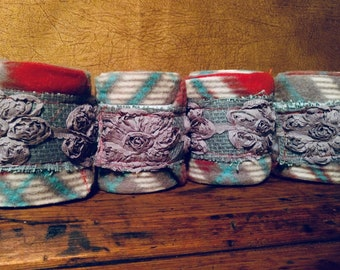 Red, Teal, and Gray Plaid Polo Wraps with Gray Lace Flowers