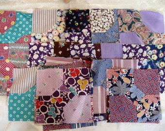 46 Vintage Antique Quilt Piece Bowtie Block Bow Tie Hand Stitched Patchwork Quilt Lot