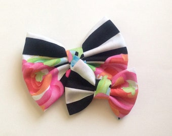 Black & White Stripe Flower Bow | Fabric Bow | Handmade Hair Bow | Hair Clip | Headband