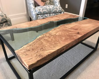 Maple River Glass Coffee Table with Powder Coated Steel Base