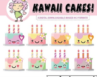 50%off Kawaii Birthday Cakes DIGITAL CLIPART, cake clip art, digital sticker, can be used with Goodnotes, crafting, scrapbooking