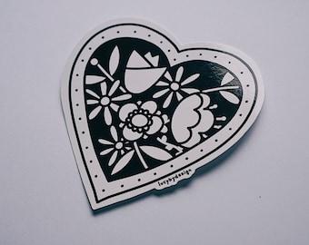 Flower heart Vinyl Sticker