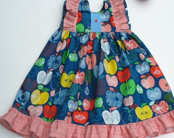 GIrls Apple Picking Dress,Girls Dress,Toddler Dress,Little Girl Dress,Blue,Apples,Red,Sizes 12MO,18MO,2T,3T,4T,5T,6,7,8,9,10