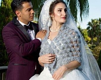 Gray Bridal Shrug Wedding Shawl Bridal Bolero Winter Wedding Wrap Crochet Shawl  Bridal Cover Up Bridal Wrap Bridal Accessories Gift For Mom