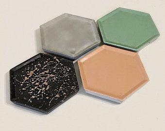Concrete hexagon Trinket dish - choose your color