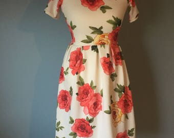 White With Red Roses Semi Fitted Dress With Pleats -Small