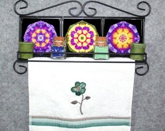 Pansy Themed Towel Rack Cup Rack Spice Rack Bathroom Decor Kitchen Decor Unique Home Decor Personalized Versatile Flower Theme
