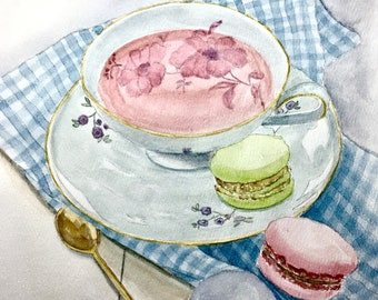 Tea Party, original watercolor, 8x10 inches, cup tea and macarons