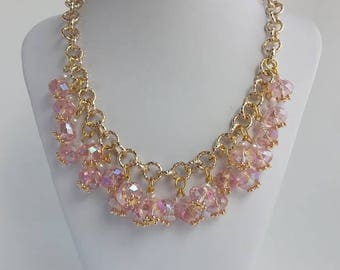 Pink Crystal Necklace,  Gift for Her, Jewelry Set,