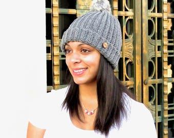 Crochet Hat, Hat with fur Pom Pom, Beanie With Fur, , Adult, Crochet, Women, Teen,