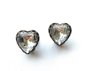 SHARON Old Hollywood Inspired Heart Clip On Earrings.One of a kind. Gift Box w/Ribbon. Fast shipping from USA with Tracking for US Buyers.