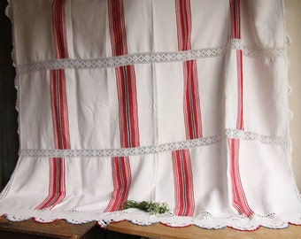 D 34 :  antique TABLECLOTH coverlet upholstery fabric classy and elegant PALE color and red blue stripes