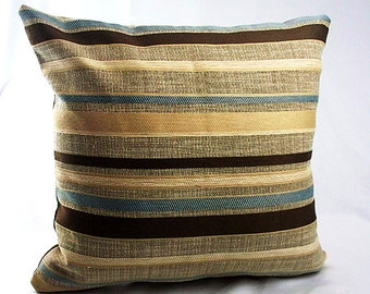 Striped cushion covers, Decorative striped pillows, Striped pillow covers, Brown and blue throw pillows, Designer pillows for sofa, Teal tan