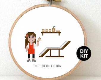 Cross Stitch Kit Beautician gift with DMC floss and wooden embroidery hoop. DIY gift for beautician at home. Christmas beauty gifts.