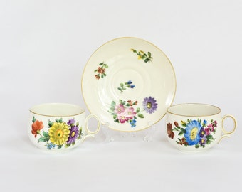 Rare 1919 German Alt Ludwigsburg Porcelain - 2 Floral Cups and 1 Floral Saucer - Hand Painted