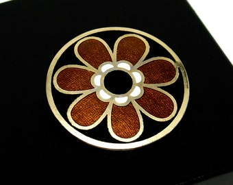 de Passille Sylvestre Brooch - Daisy Flower - Mid Century Abstract - Candian Quebec - Modernist Enamel - Signed