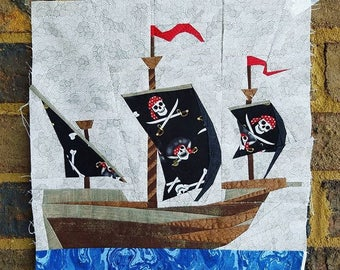 Vintage Pirate Ship Foundation Paper Piecing Pattern
