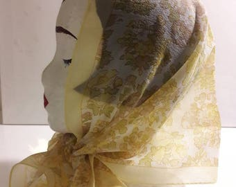 Long sheer vintage scarf yellow gold white mustard and green retro floral design