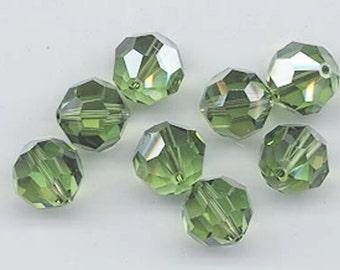 "12 Swarovski crystals with ""satin"" effect - art. 5000 - peridot satin - 10 mm"