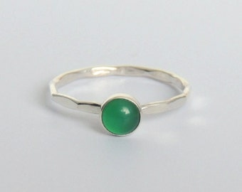 Green Onyx Ring Sterling Silver Stacking Ring Bezel Set