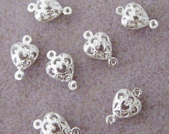 Bright Silver Plated Filigree Heart Cage Connectors Two Sided Link 14mm x 9mm 507