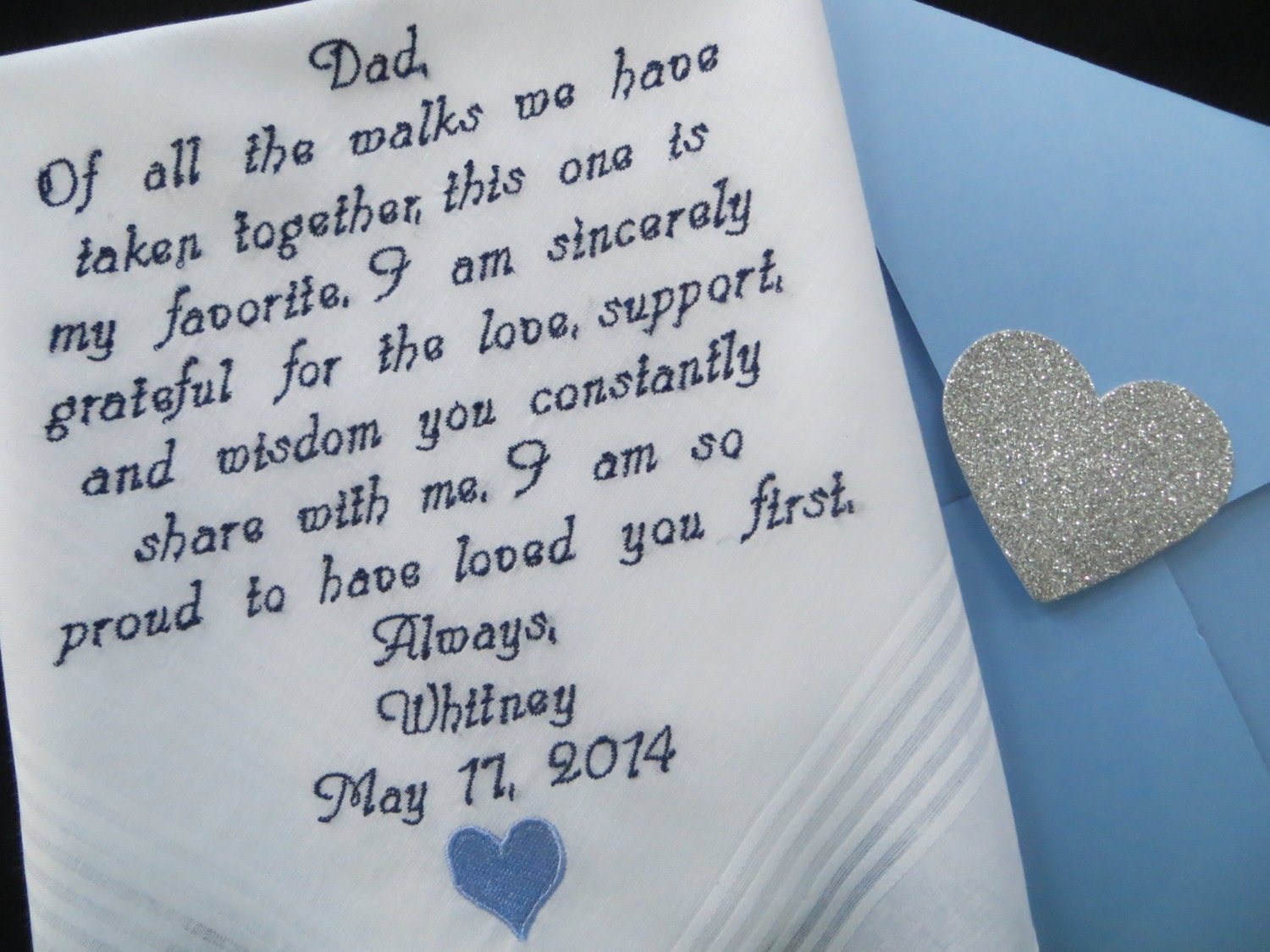 Wedding handkerchief for Dad. Embroidered Wedding Gift. You