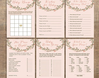 Peach Baby Shower Games Package, Six Baby Girl Shower Games Bundle, Peach Wreath, DIY Printable, INSTANT DOWNLOAD