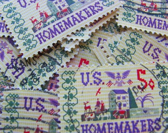 Homemakers 30 Vintage US Postage Stamps 5-cent Scott 1253 Embroidery Needlepoint Arts and Crafts Americana Dustbowl Cottage Chic Philately