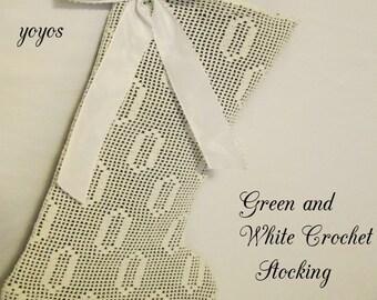 CHRISTMAS STOCKING GREEN Velvet White Vintage Crochet Holiday Décor