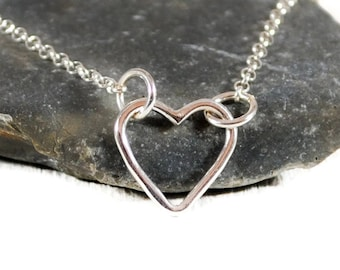 Tiny Sterling Silver Heart Necklace. Open Heart Necklace. Layered Necklace. Delicate Necklace. Minimalist Jewelry. Mothers Day Gift For Her