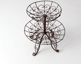 vintage wrought iron stand, metal tiered basket, table display