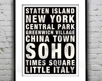 New York Subway Poster Art Print China Town, Soho, Times Square, Central Park, Greenwich Village