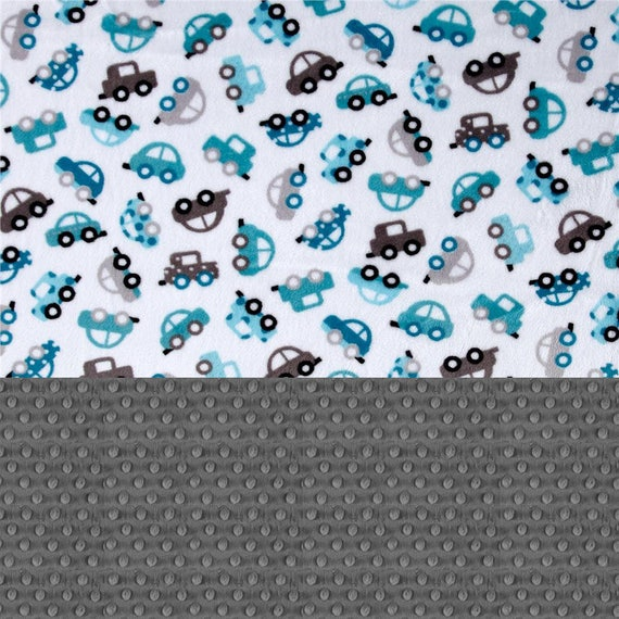 Mini Personalized Baby Blanket Boy - Baby Lovey Minky Blanket, Blue Gray Car Blanket / Baby Shower Gift / Personalized Blanket