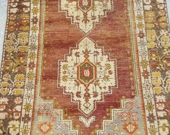4 by 6 rug, Vintage Oushak Rug, Vintage Rug, Oushak Area Rug, Turkish Vintage Rug, Oushak Rug, Area Rug, Kitchen Rug, Boho Rug, Low Pile Rug