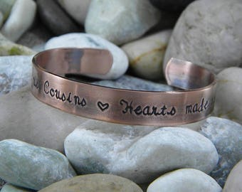 Chance made us cousins Hearts made us friends - hand stamped bracelet - Antiqued Copper