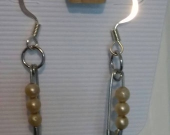 Beaded Pearl Safety Pin Earrings