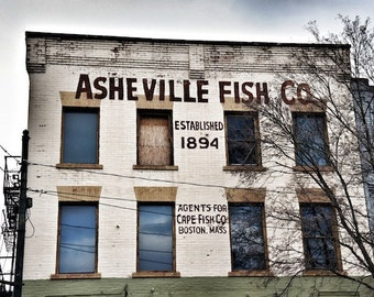 Asheville Fish Co, Kitchen Wall Decor, Asheville Photography, Old Sign Photograph