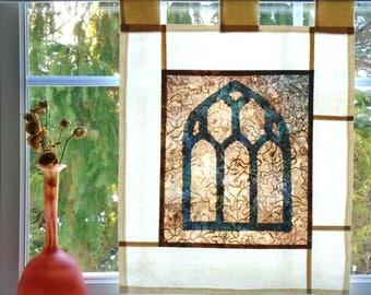 Gothic Window  ~ Bleached Art Stained Glass Look Pojagi Batik Window Treatment  / bohemian cafe / dorm curtain / boudoir curtain